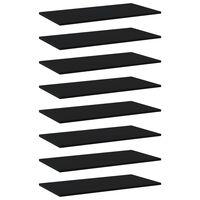 vidaXL Półki na książki, 8 szt., czarne, 80x40x1,5 cm, płyta wiórowa