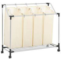 vidaXL Sortownik na pranie z 4 pojemnikami, kremowy, stalowy