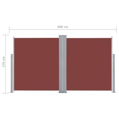 vidaXL Zwijana markiza boczna, 170 x 600 cm, brązowa