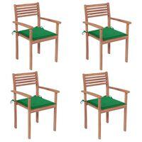 vidaXL Krzesła ogrodowe, 4 szt., zielone poduszki, drewno tekowe