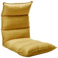 vidaXL Składane krzesło podłogowe, musztardowe, tkanina