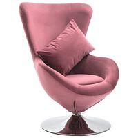 vidaXL Fotel obrotowy jajo z poduszką, różowy, aksamitny
