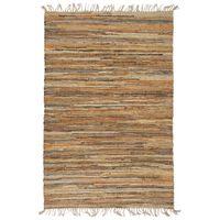 vidaXL Ręcznie tkany dywan Chindi 190x280 cm, skóra i juta, jasny brąz