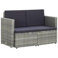 vidaXL 2-osobowa sofa ogrodowa z poduszkami, polirattan, szara