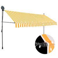 vidaXL Ręcznie zwijana markiza z LED, 400 cm, biało-pomarańczowa