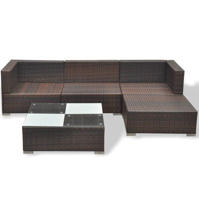 vidaXL 5-cz. zestaw mebli do ogrodu, poduszki, rattan PE, brązowy
