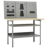 vidaXL Stół roboczy z trzema panelami ściennymi