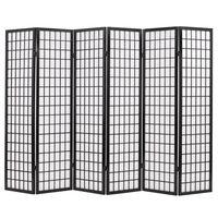 vidaXL Składany prawan 6-panelowy w stylu japońskim, 240x170, czarny