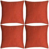 vidaXL Poszewki na poduszki 4 szt. lniane, terakota 40x40 cm