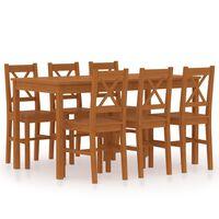 vidaXL 7-częściowy zestaw mebli do jadalni, drewno sosny, miodowy brąz