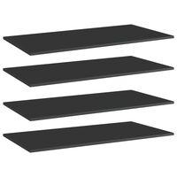 vidaXL Półki na książki, 4 szt., wysoki połysk, czarne, 80x30x1,5 cm