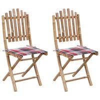 vidaXL Składane krzesła ogrodowe z poduszkami, 2 szt., bambusowe