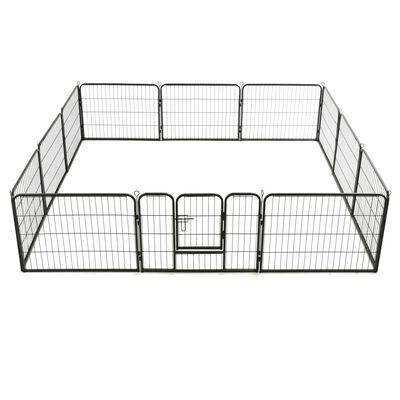 vidaXL Kojec dla psów, 12 paneli 80 x 60 cm, stalowy, czarny