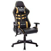 vidaXL Fotel dla gracza, czarno-złoty, sztuczna skóra
