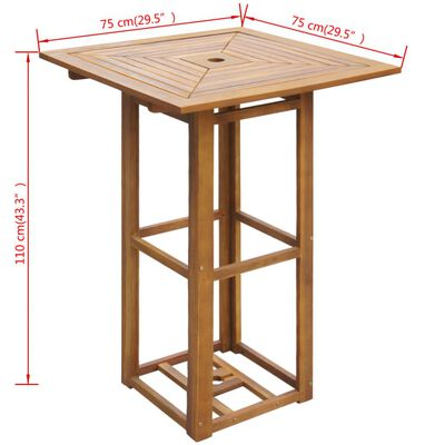 vidaXL Stolik bistro, 75x75x110 cm, lite drewno akacjowe
