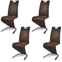 vidaXL Krzesła stołowe, 4 szt., brązowe, sztuczna skóra