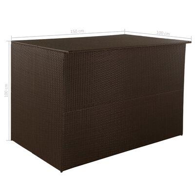 vidaXL Skrzynia ogrodowa, brązowa, 150 x 100 x 100 cm, rattan PE