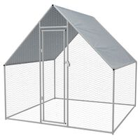 vidaXL Klatka zewnętrzna dla kurcząt, stal galwanizowana, 2x2x1,92 m