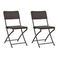 vidaXL Składane krzesła ogrodowe, 2 szt., HDPE i stal, brązowe