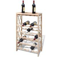 vidaXL Drewniany stojak na 25 butelek wina, lite drewno jodłowe