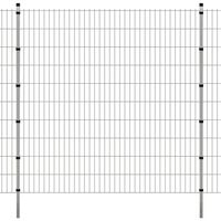 vidaXL Panele ogrodzeniowe 2D z słupkami - 2008x2030 mm 12 m Srebrne