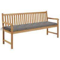 vidaXL Ławka ogrodowa z szarą poduszką, 175 cm, lite drewno tekowe