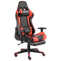 vidaXL Obrotowy fotel gamingowy z podnóżkiem, czerwony, PVC