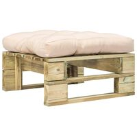 vidaXL Ogrodowy stołek z palet z poduszką w kolorze piasku, drewno