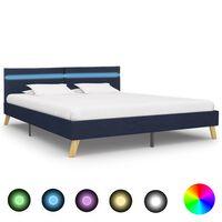 vidaXL Rama łóżka z LED, niebieska, tkanina, 180 x 200 cm