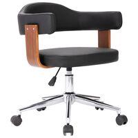 vidaXL Obrotowe krzesło biurowe, czarne, gięte drewno i sztuczna skóra