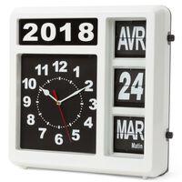 Perel Ścienny zegar z francuskim kalendarzem klapkowym, 31x31 cm