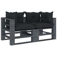vidaXL Ogrodowa sofa 2-osobowa z palet, antracytowe poduszki, drewno