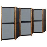 vidaXL Parawan 6-panelowy, czarny, 420 x 170 cm