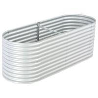 vidaXL Podwyższona donica z galwanizowanej stali 240x80x81 cm, srebrna