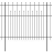 vidaXL Ogrodzenie palisadowe z grotami, stal, 600x175 cm, czarne