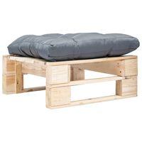 vidaXL Ogrodowy puf z palet, szara poduszka, naturalne drewno