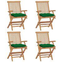 vidaXL Krzesła ogrodowe z zielonymi poduszkami, 4 szt., drewno tekowe