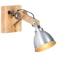 vidaXL Lampa ścienna, srebrna, E27, lite drewno mango i żelazo