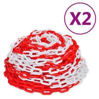 vidaXL Łańcuchy ostrzegawcze, 2 szt., czerwono-białe, plastikowe, 30 m