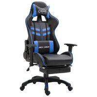 vidaXL Fotel dla gracza z podnóżkiem, niebieski, sztuczna skóra