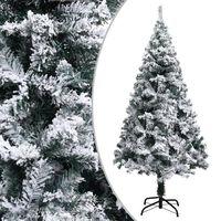 vidaXL Sztuczna choinka pokryta śniegiem, zielona, 150 cm, PVC