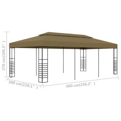 vidaXL Altana ogrodowa, 6 x 3 x 2,7 m, taupe, 180 g/m²