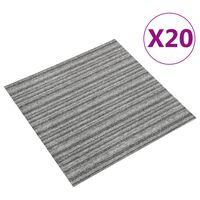 vidaXL Podłogowe płytki dywanowe, 20 szt., 5 m², 50x50 cm, szare pasy