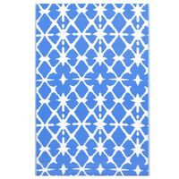 vidaXL Dywan na zewnątrz, niebiesko-biały, 120x180 cm, PP