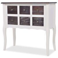 vidaXL Konsola - komoda z 6 szufladami, drewniana, brązowo-biała