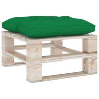 vidaXL Ogrodowy stołek z palet z zieloną poduszką, drewno sosnowe