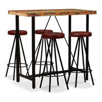vidaXL Zestaw mebli barowych z drewna odzyskanego i skóry, 5 szt.