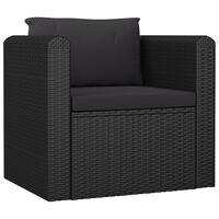 vidaXL Fotel z poduszką, polirattan, czarny