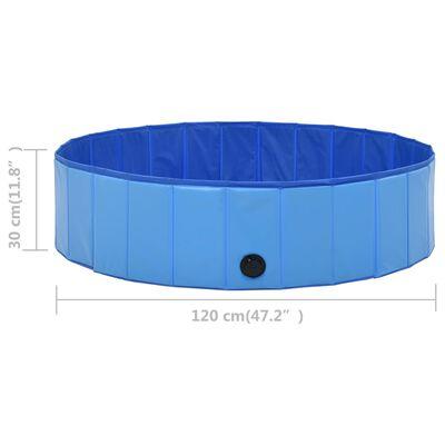 vidaXL Składany basen dla psa, niebieski, 120 x 30 cm, PVC