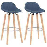 vidaXL Krzesła barowe, 2 szt., niebieskie, tapicerowane tkaniną